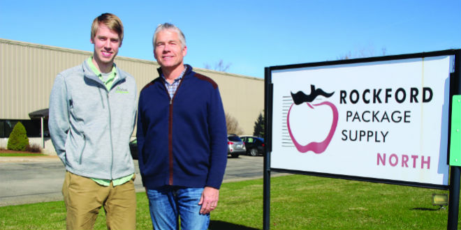 Chad Paulson, sales director for Rockford Package Supply, left, with his father, Howard, RPS president. Photo: Gary Pullano