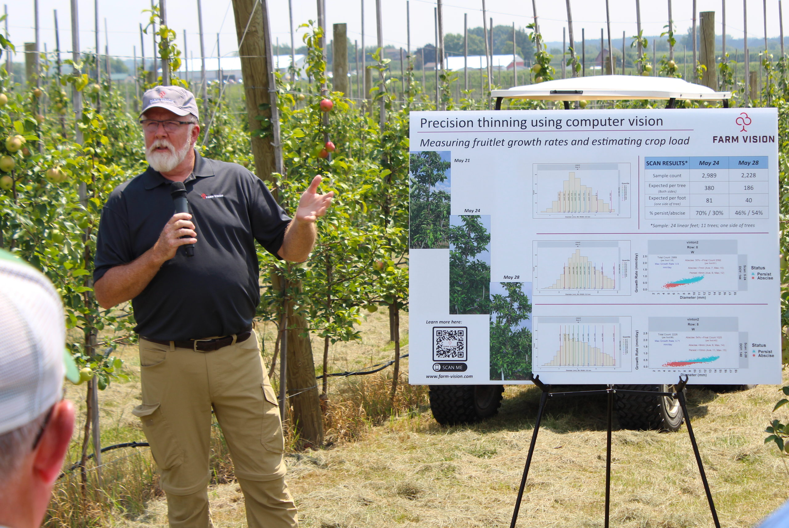 Farm Vision, a technology for visually measuring fruitlet growth rates and estimating crop level, gave a demonstration.